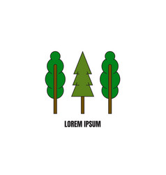 Line style logotype template with trees vector