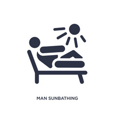 Man sunbathing icon on white background simple vector