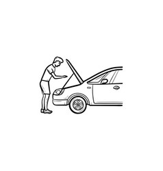 Man under the hood of car hand drawn outline vector
