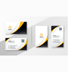 modern corporate business card design in yellow vector image