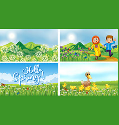 Nature scene backgrounds with kids and animals vector