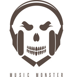Negative space concept with skull monster vector
