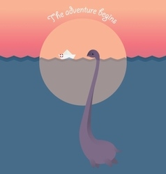 Nessie and ship in lake Adventure begins vector image