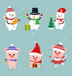 new year and christmas card a set of three vector image