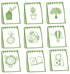 Notebooks with eco-friendly drawings vector image