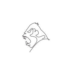 One continuous line drawing gorilla head vector
