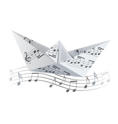 Origami boat on the wave with musical notes vector