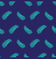palm tree leaves seamless pattern teal vector image