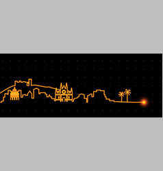 Palma de mallorca light streak skyline vector