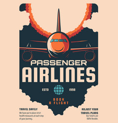 passenger airlines booking service retro poster vector image
