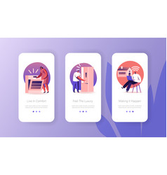people use smart technics for home mobile app page vector image