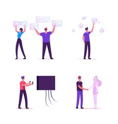 People use virtual reality technology set male vector