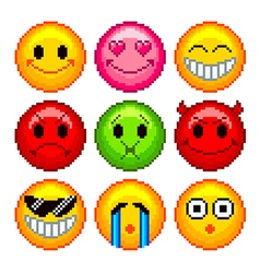 Pixel smileys for games icons set vector