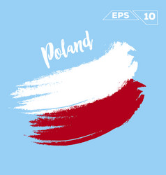 Poland flag brush strokes painted vector