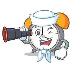 sailor with binocular alarm clock mascot cartoon vector image