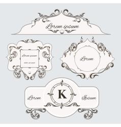 Set of vintage ornament frame and labels vector