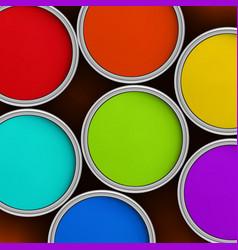 seven colors rainbow colorful paint jars vector image