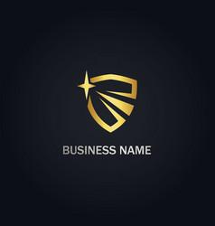 shield protection star gold logo vector image