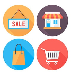 Shopping flat circle icons set vector