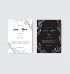 silver invitation with floral elements vector image
