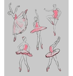 Sketch of girls ballerinas set vector