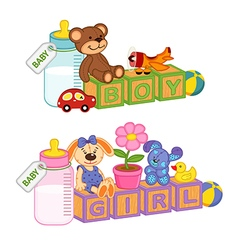 toys and accessories for baby with blocks vector image