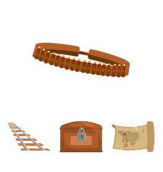 Treasure map chest rails patrolwild west set vector