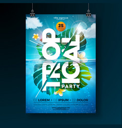 Tropical summer party flyer design template vector