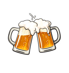 Two toasting beer mugs cheers clinking glass vector