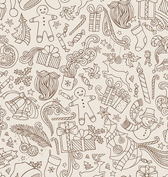 Vintage Seamless Doodles Christmas Pattern vector
