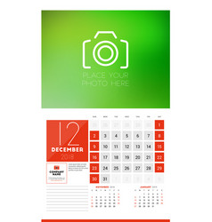 wall calendar template for 2018 year december vector image