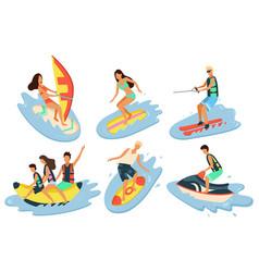 Water fun people seaside windsurfing and jet vector