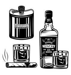 Whiskey set black objects or design vector