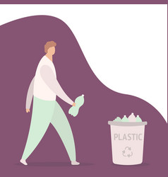 young guy throwing plastic bottle into container vector image