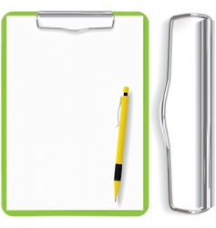 Clipboard paper sheet and pen vector