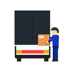 Delivery icon with loader man near freight truck vector