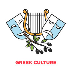 greek culture promo poster with ancient theatrical vector image