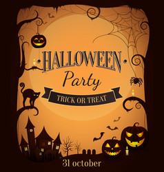 halloween party trick or treat promotional poster vector image vector image