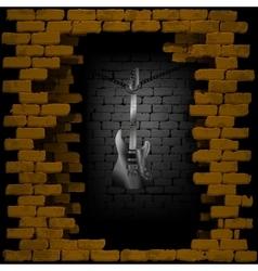 Steel guitar in rock breaking through brick wall vector