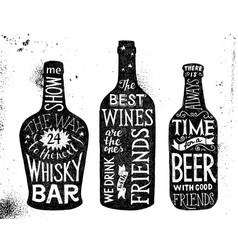 Alcoholic beverages hand drawn lettering set vector