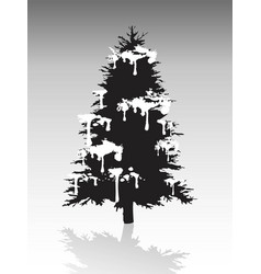 black christmas tree silhouette covered with snow vector image vector image