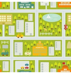Cartoon map seamless pattern of summer city vector