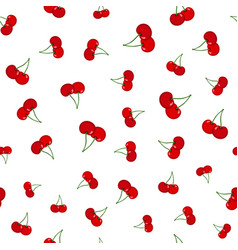 cherry seamless pattern ripe sweet tasty berries vector image