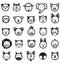 Cute Animal Faces Set vector image