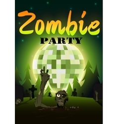 Halloween Zombie Party on green disco ball moon vector image vector image