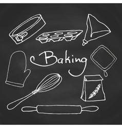Hand drawn baking equipment Kitchen tools design vector image