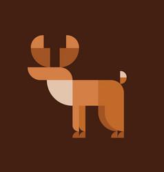 Horned Elk geometric design animal style flat vector image vector image