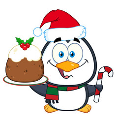 penguin character holding christmas pudding vector image vector image