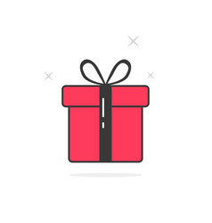 pink and black outline gift box vector image