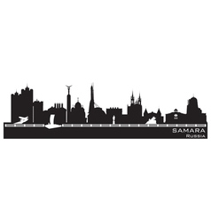 Samara Russia city skyline Detailed silhouette vector image